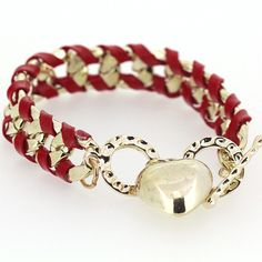 Korean Stylish Lady Love Pendant Designed Handmaking Alloy and Leather Rope Red Charming Woven Bracelets for Girls