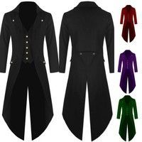 Wish | Gentlemen Men's Coat Fashion Steampunk Vintage Tailcoat Jacket Gothic Victorian Frock Coat Men's Uniform Costume Men's Tailcoat Jacket Fashion Tuxedo Swallow-tailed Long Suits Party Dress Coat