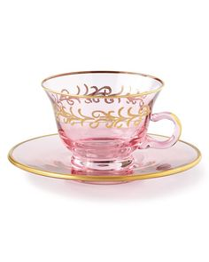 Shop Blush Oro Bello Teacups/Saucers, Set of 4 at Horchow, where you'll find new lower shipping on hundreds of home furnishings and gifts. Tea Cup Set, Tea Cup Saucer, Cute Tea Cups, Tea Sets Vintage, Vintage Teacups, Vintage China, Glass Tea Cups, Tea Service, Chocolate Pots