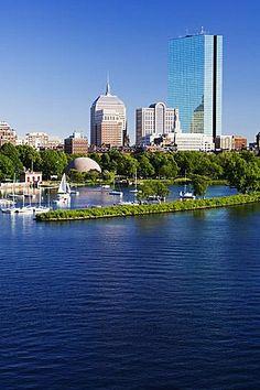 The John Hancock Tower and city skyline across the Charles River, Boston…
