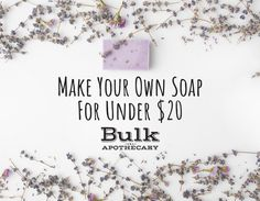 Whether you are new to soap making or a seasoned veteran, learn how to make a batch of soap for less than twenty dollars from Bulk Apothecary. Bubble Diy, Bubble Recipe, Sugar Scrub Recipe, Soap Making Supplies, Homemade Soap Recipes, Soap Base, Make Your Own, How To Make, Recipes For Beginners