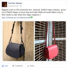 Super happy to see this wonderful ‪#‎testimonial‬ by the oh-so-spunky founder of @littleblackbookdelhi and proud owner of Midnight ‪#‎Gigi‬ and Rose ‪#‎LittleStefanie‬. When we say you are an incredible young woman, we really mean it Suchita Salwan. Gigi & Little Stefanie are in STELLAR company.  Keep the love rolling guys!! Team ‪#‎Chiaroscuro‬ ‪  #‎Bags‬ ‪#‎Handbags‬ ‪#‎Leather‬ ‪#‎PureLeather‬ ‪#‎CustomerTestimonial‬ ‪#‎Vintage‬ ‪#‎Fashion‬ ‪#‎WorkshopMade‬