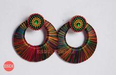 Thread Jewellery, Silk Thread, Diy Jewelry, Washer Necklace, Crochet Earrings, Bangles, Drop Earrings, Jewels, Polymer Clay