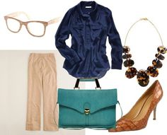 business casual - denim for the office  Everything but the purse!