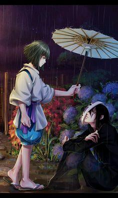 白龙和无脸男~ #Illustration #anime #SpiritedAway #umbrella #rain #mask