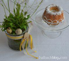halbachblog I Ostern I Tischdeko bunt I Dekoidee I DIY I selber machen I Bänder I ribbons I Planzen I Kuchenrezept: Orangen-Mandel-Kuchen