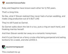 I want this now. Just an episode of Garnet's wedding. Doesn't even have to have the cliche of someone attacks the honeymoon.