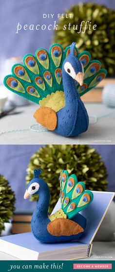 Our felt peacock stuffie is a great intermediate project. And although its a bit time-consuming to embroider all of the intricate details of this exotic bird its worth it! Felt Crafts Patterns, Felt Crafts Diy, Felt Diy, Fabric Crafts, Diy Craft Projects, Sewing Projects, Felt Gifts, Needle Felting Tutorials, Baby Mobile