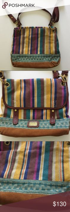 Fossil Festival cross body Bag messenger Purse New!  No price tag.  Never used.  See all pictures. Authentic.  Plastic still on interior zipper pull.  Adjustable shoulder or cross body strap.  Removable shorter strap.  Colorful festival colors tweed weave.  Suede bottom. Fossil Bags Crossbody Bags