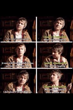 but he's a hobbit! (get your point though, I'm sure they're the same) Sherlock Cast, Sherlock John, Sherlock Holmes, Martin Freeman Funny, The Misty Mountains Cold, Una Stubbs, Louise Brealey, Rupert Graves, Acting Skills