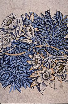 I'm super-inspired by Arts & Crafts/ Art Deco /Beaux Arts stuff. especially William Morris fabric like this.[William Morris (English), Tulip and Willow, pencil/watercolor drawing for a fabric design, c. Art Nouveau, Arts And Crafts Movement, Textures Patterns, Print Patterns, Fabric Design, Pattern Design, Print Design, Pattern Bank, Graphic Design