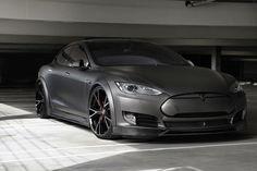 modified matte black Tesla Model S   (by: Shoreline Motoring)