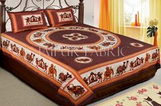 Dark Brown Base Rajasthani Doli Hand Block Print And Folk dance Design Double Bed Sheet with Pillows Cover