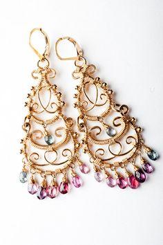 Intircate Gold Filigree Chandelier Earrings w/ Colorful Top Grade Spinel Gemstones. Plum, Blue, Pink: Leetah