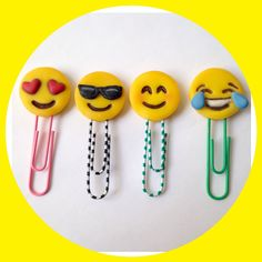 Set of 4 Emojis paper clips or Bookmark by AddOns10 on Etsy