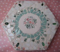 Using old plates to make a stepping stone!