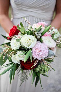 Bridesmaid bouquet, red rose, white ranunculus, pink peony, brunia berries // Love Ya Jess