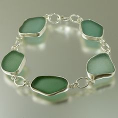 Aqua & Teal Sea Glass Bracelet 1228