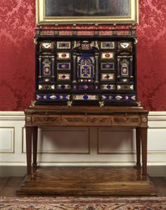 Ebony cabinet mounted in gilt bronze and pietre dure, made in Rome in about 1610, at West Wycombe Park. ©National Trust Images/John Hammond