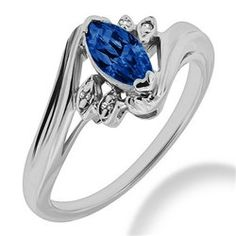 Marquise-Cut Blue Sapphire & Diamond Engagement Ring