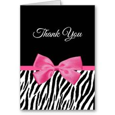 A trendy black and white zebra print pattern vertical thank you postcard with a printed girly hot pink ribbon tied into a cute bow. This is a flat printed image, not an actual ribbon. Thank You Postcards, Thank You Cards, Pink Graduation Party, Ribbon Cards, Cute Bows, White Zebra, Zebra Print, Business Card Design, Balloons