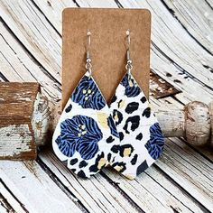 Blue Floral Cork and Leather Earrings, Leopard Earrings, Zebra Earrings, Statement Earrings, Cheetah Earrings, Boho Earrings, Game Earrings by whiteshedcreations on Etsy