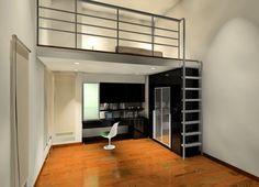 Bedroom mezzanine design small apartment modern metal - home Mezzanine Design, Mezzanine Bedroom, Small Studio Apartments, Cool Apartments, Small Room Design, Modern Bedroom Design, Dispositions Chambre, Tiny Loft, Small Loft