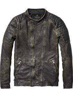 Bikerjacke aus gewaschenem Leder | Lederjacken | Herrenbekleidung von Scotch & Soda