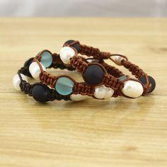 Bracelet, Bracelets, Leather pearl bracelet, Pearl leather bracelet, Sea glass bracelet, Leather and pearl , pearl leather , ETS-B378