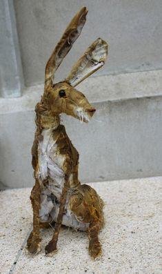 Hare mixed media sculpture by EmmaHallArt on Etsy