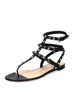X31AV Valentino Rockstud Leather Flat Gladiator Sandal, Black/Turquoise/Gold