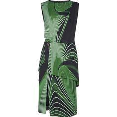 Tiered Printed Dress   Moda Operandi (58 295 UAH) via Polyvore featuring dresses, wrap style dress, front slit dress, green color dress, wrap dresses и tiered dress