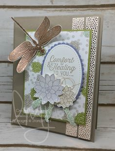 Healing & Comfort | Stampin' Up! | Dragonfly Dreams | Oh So Succulent | Flourishing Phrases #literallymyjoy #sympathy #comfort #healing #heatembossing #copper #dragonfly #succulents #washitape #2017SaleABrationCatalog #2017OccasionsCatalog