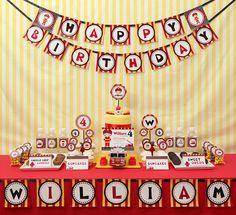 Fire Engine Kids Firetruck Birthday Party Package by leelaaloo, $35.00