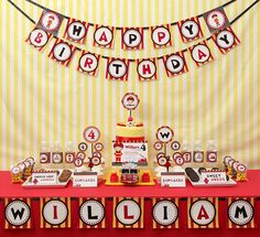 Fire Engine Kids Firetruck Birthday Party Package by leelaaloo, $35.00