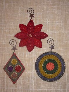 Penny Rug 3 Christmas Ornaments Pattern Set #1 for Wool Felt Embroidery #LadyLibertyTradingCompany