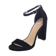 - Faux suede upper in black - Strap ankle with adjustable buckle up closure - Open toe design - Soft interior lining for a good shoe feel - Non Skid lightly cushion footbed for all day comfort - Wrapp