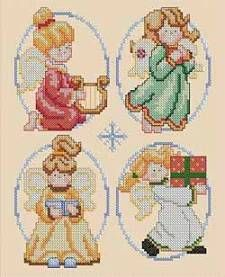 Angels (free cross-stitch pattern from DMC)