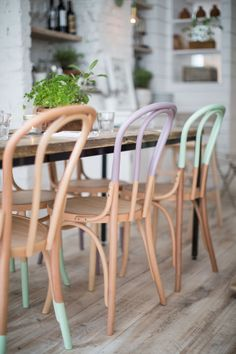 PASTEL COLOURED DIPPED CHAIRS BY ALEXANDER WATERWORTH INTERIORS More
