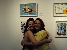 Eu (Fátima Luzia) e a aluna Fernanda Muniz na exposição do Banco Central do Brasil - 2012