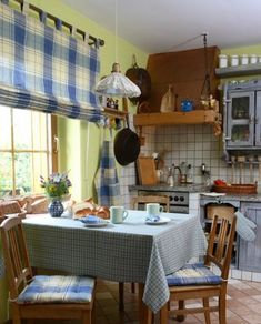 Kuchyňa - kolekcia tkanín Bristol    #kuchyna#jedalen#prestieranie#karo#bristol#rimskaroleta#obrus#sedaky White Subway Tiles, Bristol, Valance Curtains, Ikea, Kitchen, Table, Fabric, Furniture, Home Decor