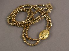 Gold and Copper Freshwater Pearl Necklace by JanMaitlandGallery, $165.00