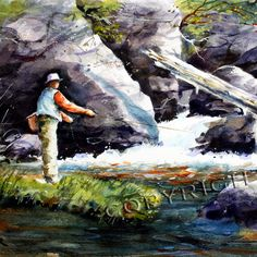 TROUT FISHING Print from Original Watercolor By by DeanCrouserArt, $45.00