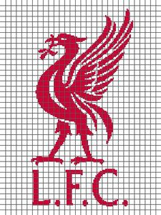 Liverpool Football Club (Graph AND Row-by-Row Written Crochet Instructions) – 04 Mini Cross Stitch, Cross Stitch Embroidery, Embroidery Patterns, Cross Stitch Patterns, Fc Liverpool, Liverpool Football Club, Crochet Blanket Patterns, Amigurumi Patterns, Hama Beads Patterns