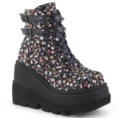 Pink Black Floral 90s Club Kid Platform Ankle Boots Shoes Demonia Womans 6 7 8 9