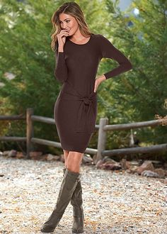 We know, the bow is everything on this dress. Venus tie detail sweater dress with Venus double strap boot.