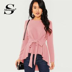Shop Self Belted Asymmetrical Hem Top online. SHEIN offers Self Belted Asymmetrical Hem Top & more to fit your fashionable needs. Spring Shirts, Mode Hijab, Pulls, Romwe, Types Of Sleeves, Blouses For Women, Fashion Outfits, Long Sleeve, Clothes