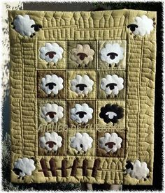 I pinned this because it was sheep and we love sheep! The website is in French, but if you scroll down, you will find that quilts are a universal language! Cute Quilts, Small Quilts, Mini Quilts, Baby Quilts, Children's Quilts, Wool Applique, Applique Patterns, Applique Quilts, Quilt Patterns
