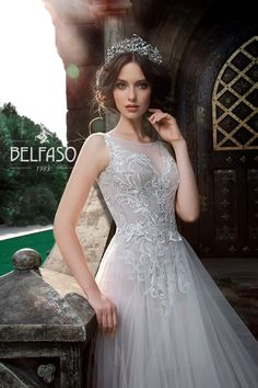 Embellished A Lane White Tulle Sleeveless Wedding Dress / Bridal Gown with Embroidered Back and the Train by Belfaso Stunning Wedding Dresses, Lovely Dresses, Beautiful Gowns, Beautiful Bride, Wedding Gowns, Wedding Girl, Princess Wedding, Wedding Ideas, After Wedding Dress