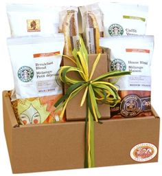 Know the way to the heart of the coffee-lover in your life with the Starbucks Sampler Gift Set. Keep your friends and family on-the-go with a sampling of Starbucks coffee, including Breakfast Blend, House Blend, Verona and Café Estima. Starbucks Gift Baskets, Coffee Gift Baskets, Gourmet Gift Baskets, Gourmet Gifts, Food Gifts, Basket Gift, Starbucks Breakfast, Starbucks Coffee, Tea Gifts